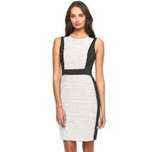 Dana Buchman Wht Blk Color Block Sheath Dress 10